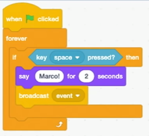 "blocks labeled ""forever"" with if key space pressed? then"" with ""say Marco! for 2 seconds"" and ""broadcast event"" nested inside"