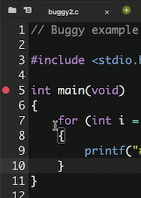 code editor with red icon next to line 5 of code