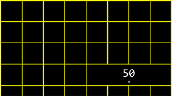 grid representing bytes, with four boxes together containing 50 with small n underneath