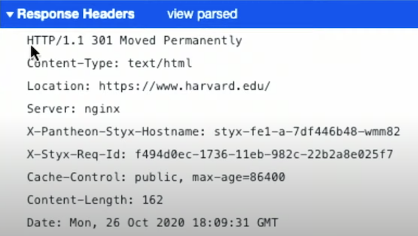 Response headers with HTTP/1.1, Content-Type, and others