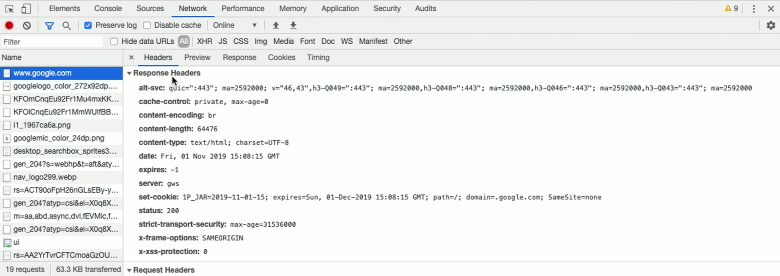image of Google Chrome request with line labeled set-cookie and some values