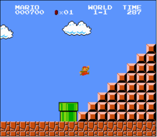 screenshot of Mario jumping up a right-aligned pyramid