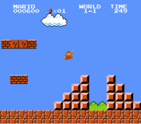 screenshot of Mario jumping up pyramid